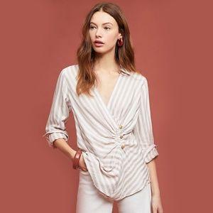 Maeve Anthro Marianna Striped-Wrap Blouse NWT 10